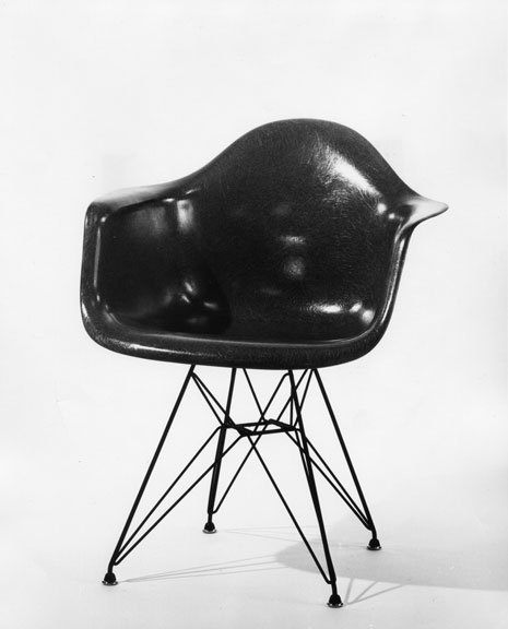 Blue Molded Fiberglass Chair Designed By Charles And Ray Eames.