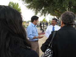 Dr. Raul Ruiz meets with Mecca residents at the Virgen de Guadalupe church in...