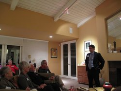 Dr. Raul Ruiz speaks to a group of Democratic Party activists at a fundraising party in Palm Springs, California.