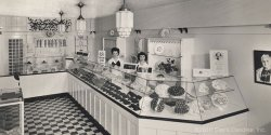 This photo of a typical See's shop from the early 1940s shares many similarities to present-day shops, with the familiar black and white checkerboard flooring and glass case of candies to choose from. If you could step back in time, you would even recognize many of the most-popular candies from today in the cases!