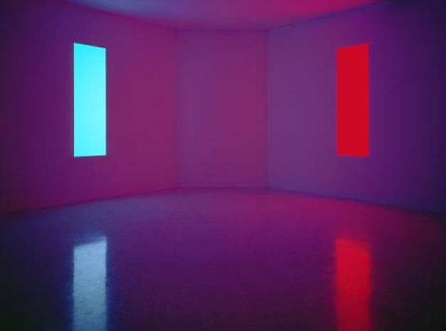 James Turrell, Stuck Red and Stuck Blue, 1970, construction materials and flu...