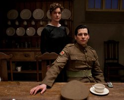 Siobhan Finneran as O'Brien and Rob James-Collier as Thomas plotting away in ...