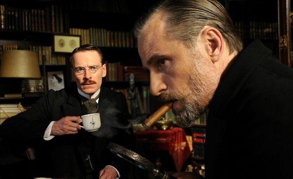 "Michael Fassbender is Carl Jung and Viggo Mortensen is Sigmund Freud in ""A Dangerous Method."""