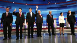 Republican presidential candidates, left to right, Rick Santorum, Rick Perry, Mitt Romney, Newt Gingrich, Ron Paul, Michele Bachmann and Jon Huntsman.