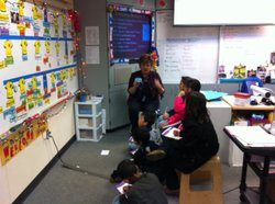 Teacher Terri Martinson meets for 30 minutes each day with her group of Engli...