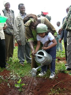 Wangari Maathai planting a tree with a young girl in the Aberdare Forest, Kenya.