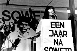 Conny Braam addressing an anti-apartheid rally. In 1971 Braam, together with others, broke away from the Comite Zuid-Afrika (CZA) to form the more radical Anti-Apartheids Beweging Nederland (AABN).