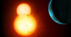 This illustration shows a planetary system orbitting two sun-like stars.