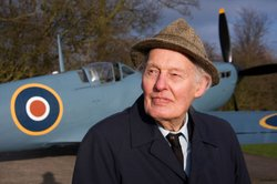 WWII pilot Jimmy Taylor with the spitfire, North Weald Airfield, Epping.