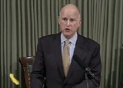 Gov. Jerry Brown delivers his State of the State address on January 18, 2012.