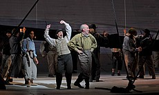 "Performance photo of the cast of ""Moby-Dick."""