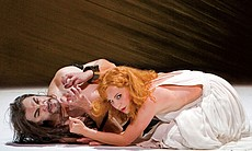Performance photo of Greer Grimsley as the noble John the Baptist with Lise Lindstrom, as the title role Salome.