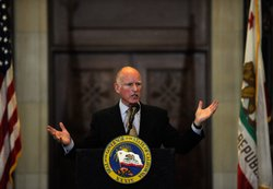 California Gov. Jerry Brown speaks during a speech at Los Angeles City Hall o...