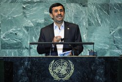 Mahmoud Ahmadinejad (C), President of Iran, delivers an address to the United Nations General Assembly at U.N. headquarters on September 22, 2011 in New York City.