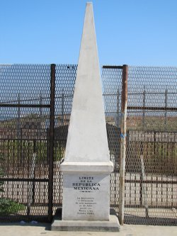 The monument marking the U.S.-Mexico border in August 2011. Before the new fe...
