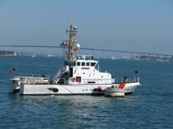 Coast Guard Patrol Boat Petrel (WPB 87350) anchored in the middle of San Dieg...