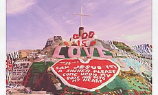 Salvation Mountain, a large-scale artwork by artist Leonard Knight, is located just east of Niland, Calif.