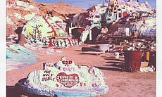 Leonard Knight's message of universal love is painted on various parts of the mountain, as well as items around the mountain.