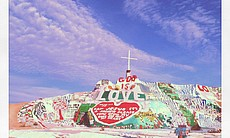 Leonard Knight constructed Salvation Mountain using adobe, hay and thousands of gallons of paint.