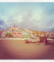 Salvation Mountain at dusk.