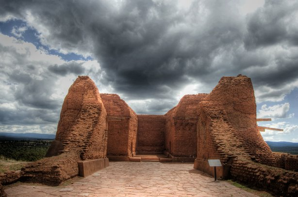 Pecos Mission Ruins with Mystery Orb at Pecos Pueblo National Historic Landmark, Pecos, New Mexico.