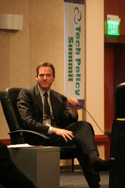 Paul Jacobs, the CEO of Qualcomm, speaks at the Tech Policy Summit in Hollywood on March 26, 2008.