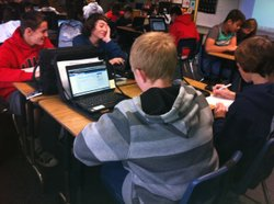 Innovation Middle School students in Michael Salamanca's second period math c...