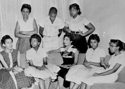 Daisy Bates with students from the Little Rock Nine.