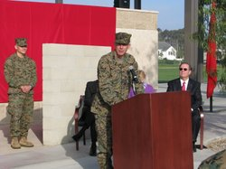 Lt General Thomas Waldhauser at the unveiling of the new memorial wall on Camp Pendleton, to honor those from the First Marine Expeditionary Force who have died in Iraq and Afghanistan, Feb 1st 2012