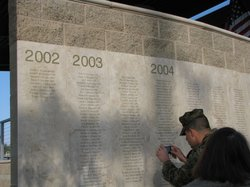 The new memorial wall on Camp Pendleton, Feb 1st 2012