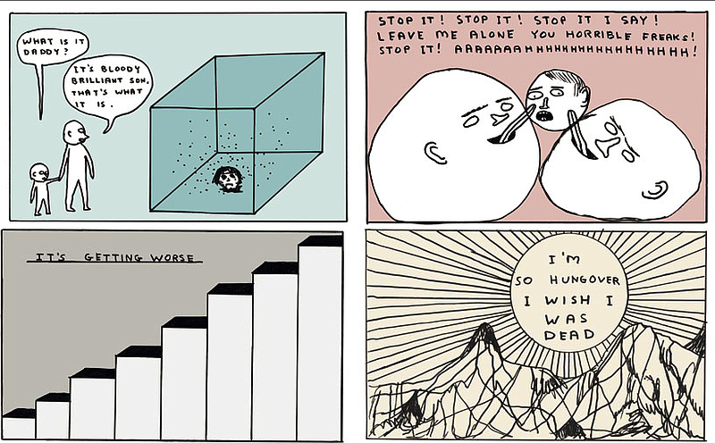 Selected drawings by David Shrigley from The Guardian's Saturday Magazine, 20...