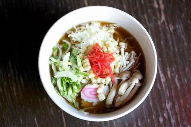A vegetable ramen bowl from Chef Antonio Friscia's Gaijin Noodle + Sake House...