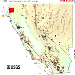 This USGS map shows the size and location of a moderate earthquake that shook...