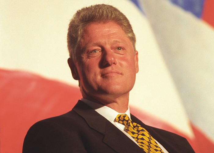 Portrait shot of President Clinton during a Clinton/Gore Fundraiser event in ...