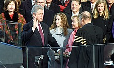 President Clinton is sworn in during the Inauguration Ceremony at the Capitol...