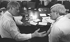 President Clinton talks to Newt Gingrich (December 30, 1995).