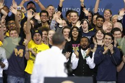 Students cheer as U.S. President Barack Obama appears at the University of Michigan January 27, 2012 in Ann Arbor, Michigan.