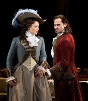 "Barbara Frittoli as Donna Elvira and Mariusz Kwiecien as the title character in the Met's new production of Mozart's ""Don Giovanni."""