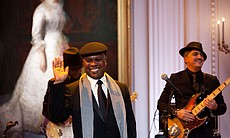 "Music director and band leader Booker T. Jones acknowledges his introduction as President Barack Obama and First Lady Michelle Obama host IN PERFORMANCE AT THE WHITE HOUSE ""Red, White And Blues"" in celebration of Blues music in the East Room of the White House, Feb. 21, 2012."