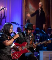 "Shemekia Copeland, left, and Gary Clark Jr. perform as President Barack Obama and First Lady Michelle Obama host IN PERFORMANCE AT THE WHITE HOUSE ""Red, White And Blues"" in celebration of Blues music in the East Room of the White House, Feb. 21, 2012."