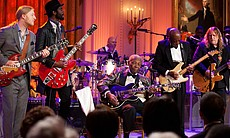 "From left, Derek Trucks, Gary Clark Jr., B.B. King, Buddy Guy and Warren Haynes perform as President Barack Obama and First Lady Michelle Obama host IN PERFORMANCE AT THE WHITE HOUSE ""Red, White And Blues"" in celebration of Blues music in the East Room of the White House, Feb. 21, 2012."