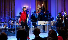 "Mick Jagger performs as President Barack Obama and First Lady Michelle Obama host IN PERFORMANCE AT THE WHITE HOUSE ""Red, White And Blues"" in celebration of blues music in the East Room of the White House, Feb. 21, 2012."