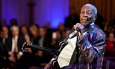 """B.B. King performs as President Barack Obama and First Lady Michelle Obama host IN PERFORMANCE AT THE WHITE HOUSE """"Red, White And Blues"""" in celebration of Blues music in the East Room of the White House, Feb. 21, 2012."""