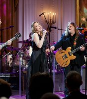 "From left, Derek Trucks, Susan Tedeschi and Warren Haynes perform as President Barack Obama and First Lady Michelle Obama host IN PERFORMANCE AT THE WHITE HOUSE ""Red, White And Blues"" in celebration of Blues music in the East Room of the White House, Feb. 21, 2012."