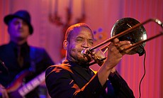 "Troy ""Trombone Shorty"" Andrews performs as President Barack Obama and First Lady Michelle Obama host IN PERFORMANCE AT THE WHITE HOUSE ""Red, White And Blues"" in celebration of Blues music in the East Room of the White House, Feb. 21, 2012."