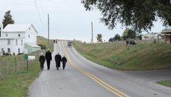 An Amish family walks down a country road to church.