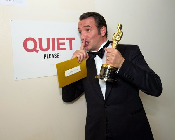Best Actor Winner Jean Dujardin having fun backstage after his win.