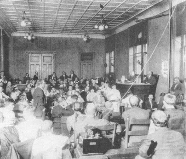 Scene during the opening day of the Leo Frank trial, 1913.