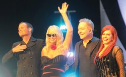 The B-52s, left to right: Keith Strickland, Cindy Wilson, Fred Schneider and Kate Pierson.