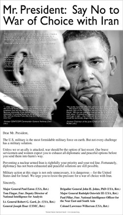 Full-page Washington Post ad urging President Obama to resist the pressure for a war of choice with Iran.